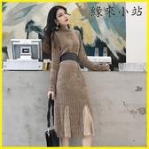 【YPRA】網紗洋裝內搭 蕾絲拼接魚尾裙中長款秋冬打底連身裙女