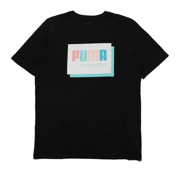 PUMA 上衣 短T 黑 藍白方格 重疊白LOGO 男 (布魯克林) 84581051