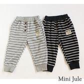 Mini Jule男童  長褲  裝飾鈕扣英文字母帆布條紋鬆緊長褲(共2色)