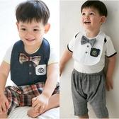 寶寶短褲 英倫 紳士 哈倫褲 附造型圍兜 男寶寶 褲子 褲裝 80066