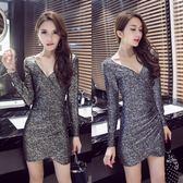 夜店洋裝 女裝洋裝秋季V領長袖性感打底裙低胸包臀顯瘦襯衫 唯伊時尚