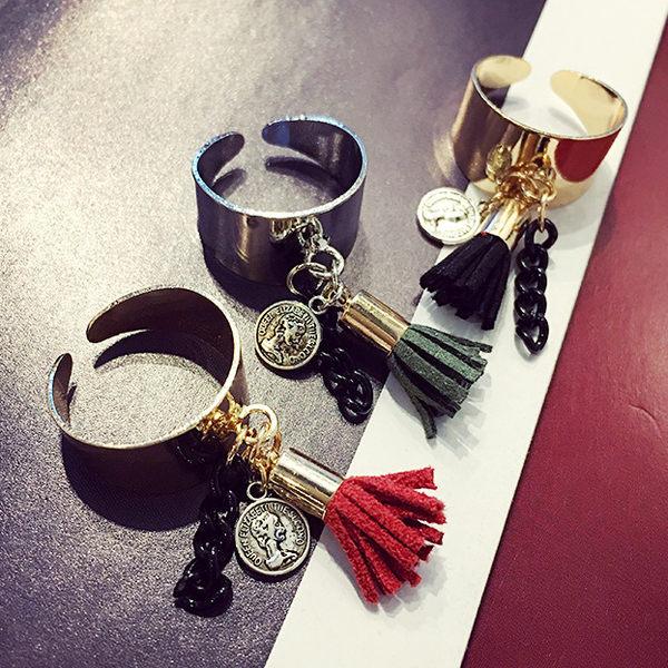 Qmigirl 韓版時尚流蘇鏈條吊墜混搭三件套戒指【QG2145】