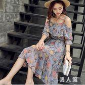 遮肚連衣裙顯瘦時尚碎花洋裝a字裙夏季吊帶裙子裝 JH1186『男人範』