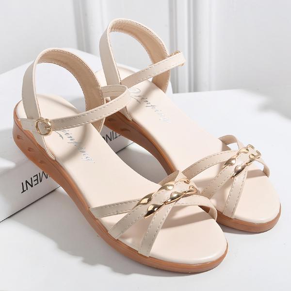涼鞋女簡約平底純色學生防滑女鞋夏季軟底公主風