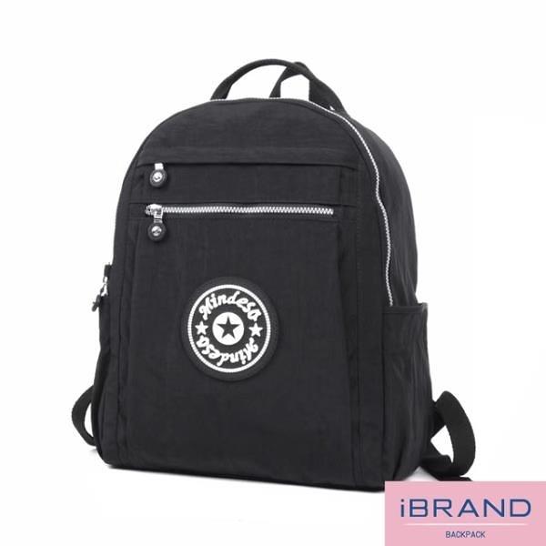 【南紡購物中心】【i Brand】輕盈防潑水尼龍大容量後背包-黑色 MDS-8098-BK