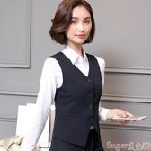 新品西裝馬甲秋冬黑色馬甲背心職業馬甲襯衫三件套裝酒店銀行工作服女正裝坎肩