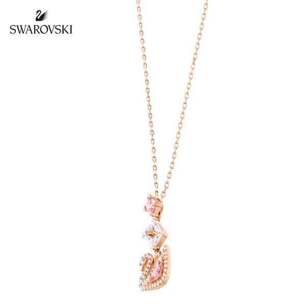 施華洛世奇 Dazzling Swan 玫金色光彩粉紅天鵝Y形項鏈