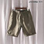 亞麻短褲褲純麻料抽腰繫帶寬鬆透氣