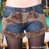 牛仔短褲女加絨加厚修身顯瘦百搭毛邊牛仔褲 艾美時尚衣櫥