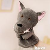 大灰狼手偶毛絨玩具嘴巴能動手套玩偶幼兒園兒童表演娃娃親子互動 創意新品