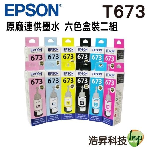 EPSON T673 六色二組 原廠填充墨水 盒裝 適用L800 L805 L1800