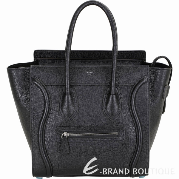 CELINE Micro Luggage 敲打小牛皮手提冏包(黝黑色) 1940195-01