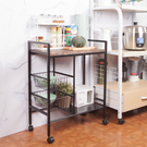 天然木紋質感 活動輪設計移動更方便 二格網籃抽屜收納設計