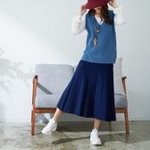【慢。生活】韓風下襬微透膚修身百褶針織長裙 6041 FREE 海軍藍