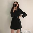 港味風小西裝外套女春秋季新款韓版小個子系帶收腰顯瘦連衣裙西服 小艾新品