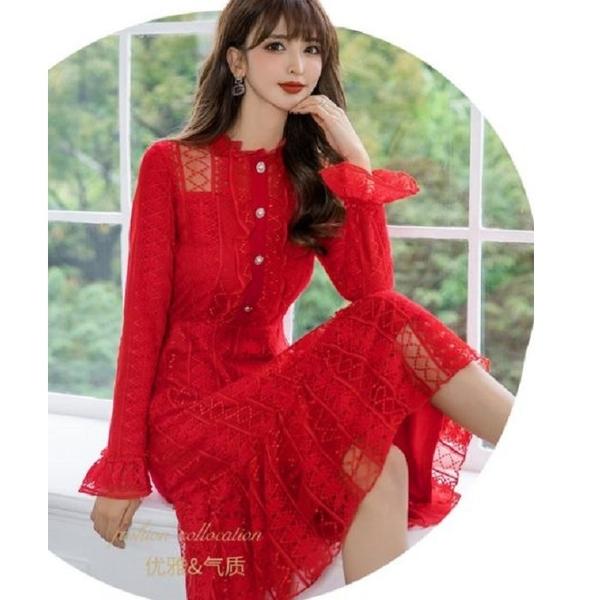 柔美小露香肩花邊宮廷袖過膝宴會洋裝[99105-QF]美之札-優雅收腰雪紡洋裝