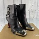BRAND楓月 Christian Louboutin 黑色 皮革 銀色鞋跟 銀色鞋頭 紅底 裝飾釦 粗跟 短靴 #37