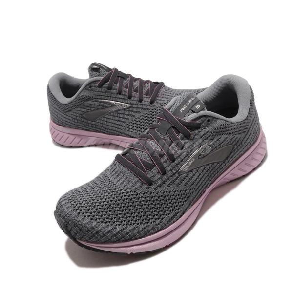 Brooks 慢跑鞋 Revel 3 灰 粉紅 女鞋 運動鞋 針織鞋面 【ACS】 1203021B043