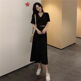 套裝 兩件式 網紅法式赫本套裝夏季洋氣減齡韓版V領上衣中長款半身裙兩件套女