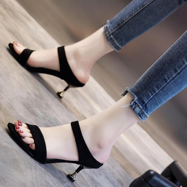 細跟涼鞋女新款仙女風夏季女鞋時尚百搭網紅超火細跟中跟高跟鞋女【快速出貨八折下殺】