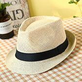 中老年帽子男士夏季亞麻草帽老人素面禮帽爸爸透氣爵士涼帽紳士帽【快速出貨】