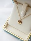 項鏈 轉運福牌福字鎖骨項鏈頸鏈小眾設計感圓形鈦鋼女18K玫瑰金色吊墜 星河光年
