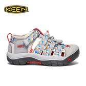 【KEEN 美國 童 護趾涼鞋《灰/印花》】1021234/織帶涼鞋/快乾/透氣/專利防水織帶/兒童涼鞋