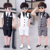 男童禮服兒童西裝三件套馬甲套裝英倫夏季婚禮服花童主持人小西服CC1724『美鞋公社』