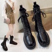 馬丁靴女英倫風年新款秋冬季單靴中筒靴厚底黑色機車靴短靴子 雙十二全館免運