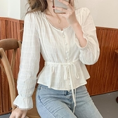收腰小衫 長袖甜美氣質襯衫S-2XL春裝白色襯衣收腰V領喇叭袖純棉上衣FF027韓衣裳