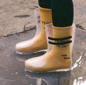 春季新款ins爆款透明雨靴雨鞋兒童 雙杠雨鞋 PVC兒童中筒雨鞋 名稱家居館