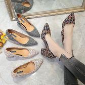 高跟鞋尖頭淺口粗跟單鞋小香風氣質顯瘦針織拼色高跟女鞋12 5