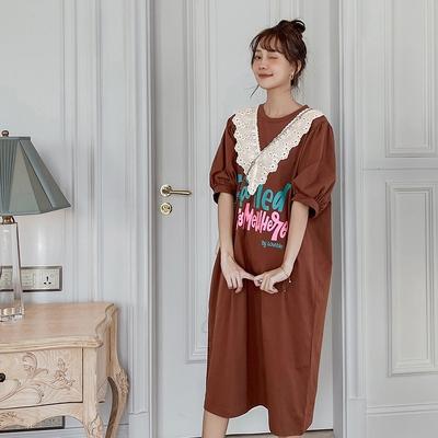 胖妹妹大碼洋裝~216寬松大碼拼精美繡花花邊短袖連身裙DC109A1莎菲娜