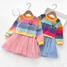 網紗連身裙女童連身裙秋季新款兒童長袖彩虹條衛衣洋氣寶寶網紗公主裙子