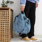 牛仔包港風帆布包日系韓版女學生側背包牛仔帆布袋購物袋斜背包 新年提前熱賣
