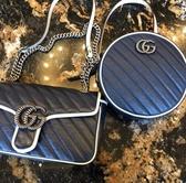 ■專櫃77折■Gucci 全新真品 GG Marmont 迷你圓形單肩小圓餅包 藍色
