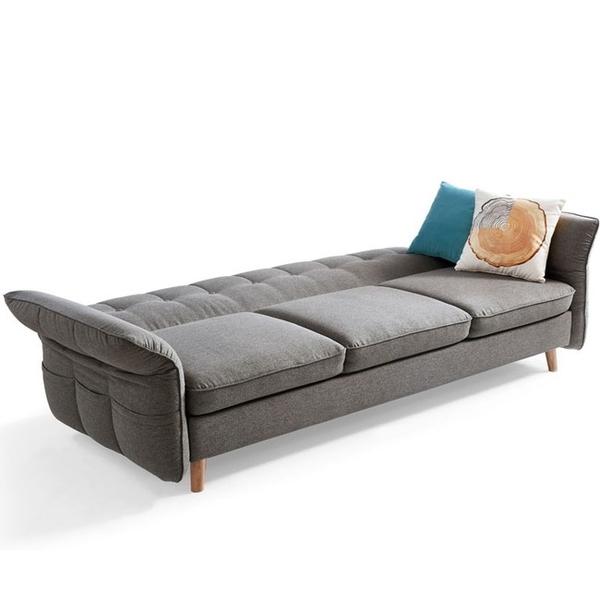 林氏木業北歐多功能三人布沙發床+腳凳(附4顆抱枕)1012-中灰色
