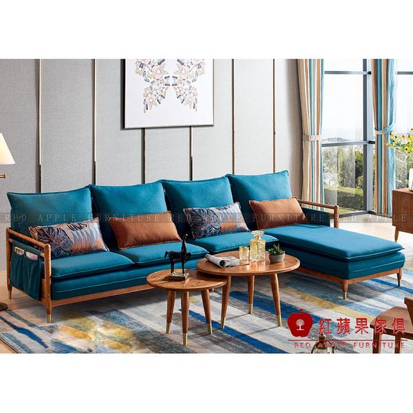 [紅蘋果傢俱]XS-W807白蠟木系列 L型布藝沙發  轉角沙發 1+2+3沙發 茶几 圓/方几  實木 北歐風 簡約