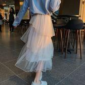 梨卡 - 浪漫甜美氣質高腰蛋糕裙網紗紗裙百褶裙長裙BR242