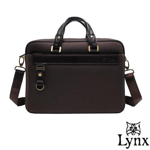 Lynx - 山貓經典極簡風格手提牛皮商務公事包-咖啡
