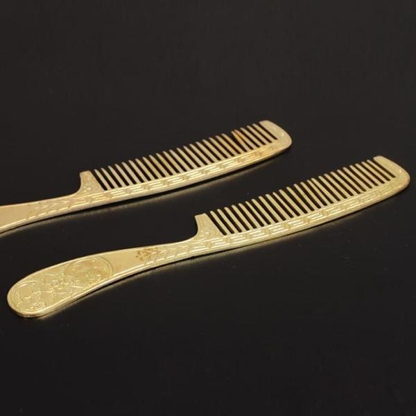手工純黃銅梳子改善頭屑保健發梳純銅防靜電美發特色婚嫁化妝梳子1入