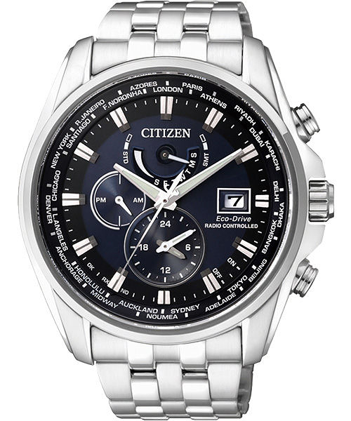 金城武廣告款 CITIZEN Eco-Drive 競速賽車電波計時腕錶-藍 AT9031-52L