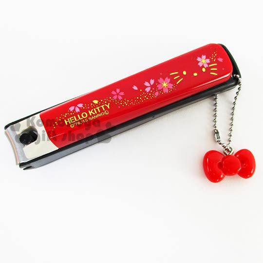 〔小禮堂〕Hello Kitty 日製指甲剪《大.紅.櫻花.附珠鍊吊飾》攜帶方便又可愛 4901601-28349