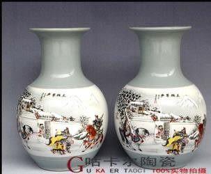 景德鎮 陶瓷花瓶 一對(三顧茅廬)