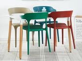 北歐椅子靠背凳子塑料餐椅成人現代簡約懶人創意休閒家用餐廳桌椅   夢曼森居家