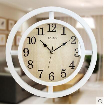 凱樂絲現代簡約掛鐘北歐木質靜音客廳掛錶清新宜家風格意時尚鐘錶