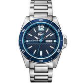 Lacoste Seattle 新潮流運動時尚腕錶-藍x銀/44mm L2010801