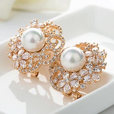 耳環 純銀鍍18K金鑲鑽-華麗高貴生日情人節禮物女飾品色73cr111[時尚巴黎]