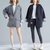 外套 大碼女裝2020胖妹妹春裝韓版寬鬆休閒小西裝外套女網紅中長款西服
