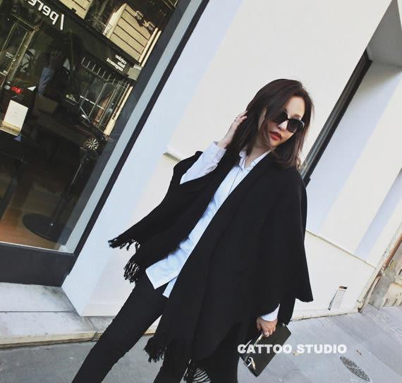 歐美超大女保暖斗篷開叉披肩兩用「巴黎街頭」